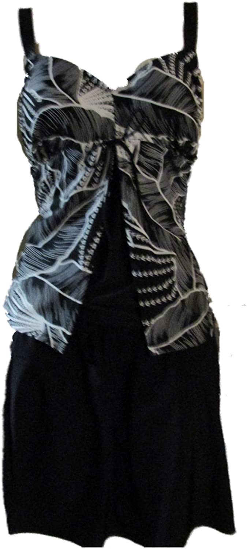 Longitude Women's Tankini 2 Piece Set Skirt Black Floral
