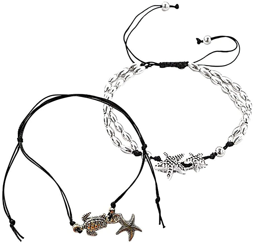aliveGOT Summer Waterproof Adjustable Boho Ankle Bracelets Set,Layered Anklet for Women 925 Sterling Silver Stars Sea Turtle Beach Jewelry for Birthday/Party