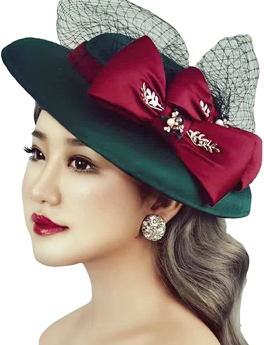 Aries Tuttle Retro Green Bow Women's Wedding Party Hat Prom Evening Formal Cap