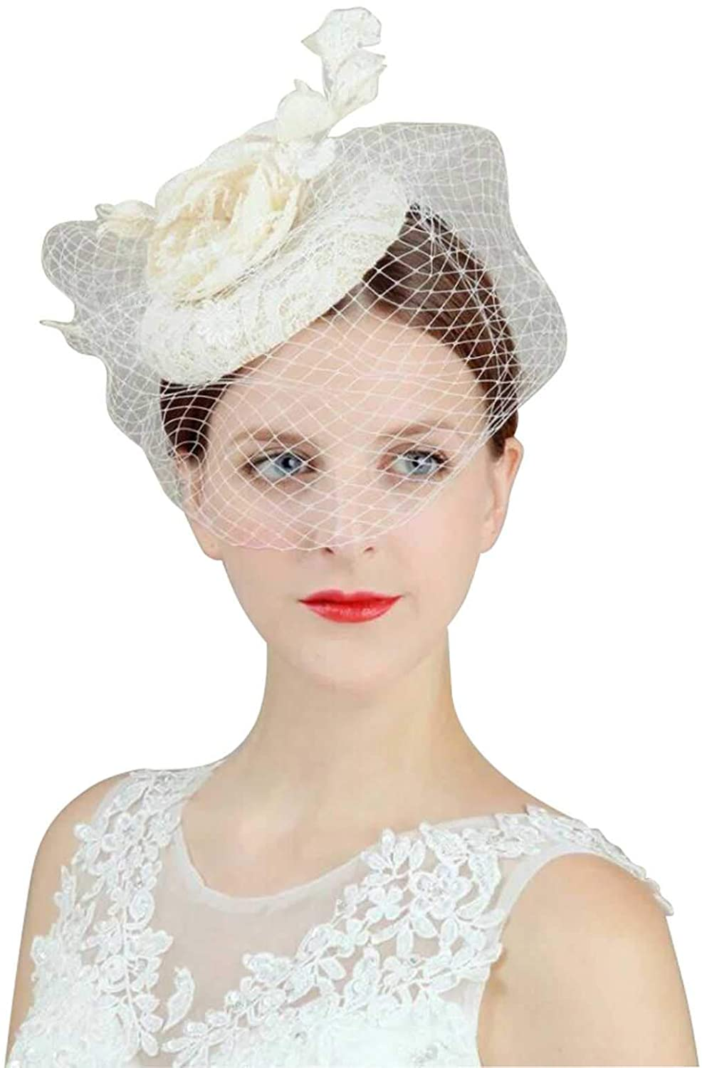 Newdeve Fascinator Headband for Women Flower Cocktail Party Bridal Hat