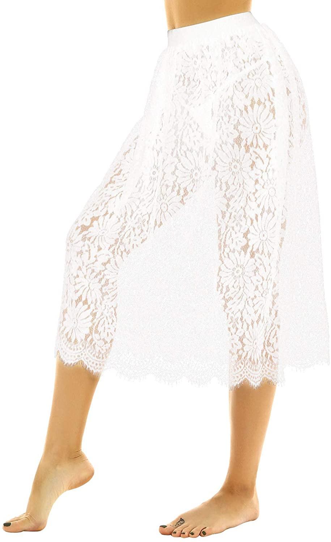YiZYiF Womens Lace Half Slip Dress A-line Extenders Midi Skirt Vintage Sheer Underskirt