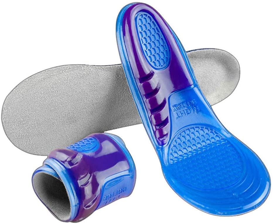 2 Pairs Silicone Non-Slip Gel Soft Sport Shoe Insoles Massaging Insole (S 4-7)