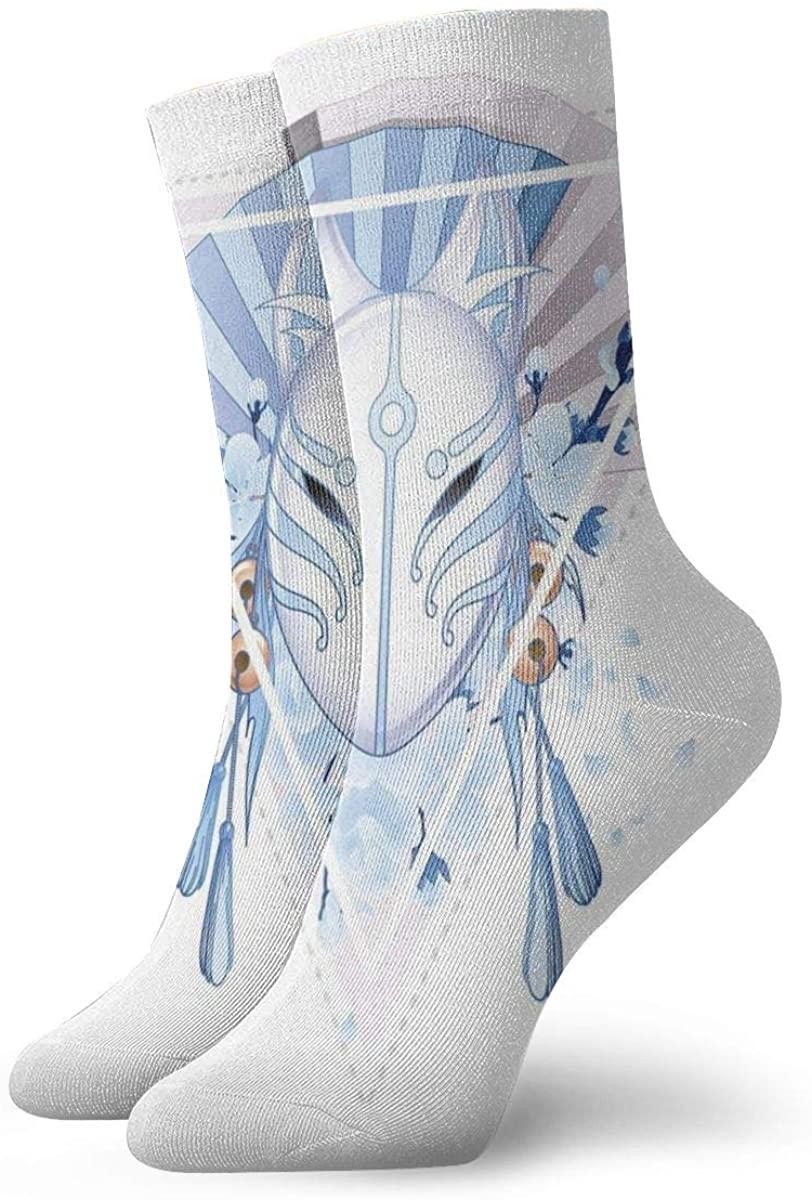Fox Mask Kitsune Japan Culture Triangle Sakura Flowersmen socks