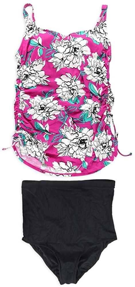 Swim Solutions Womens Plus Size Floral Hi Pant 2 Piece Tankini