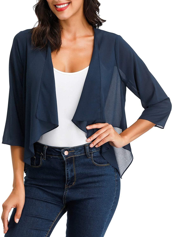 Kate Kasin Cardigans Chiffon Loose Kimono Cardigan Cover Up Capes Bolero Shrug S-XXL