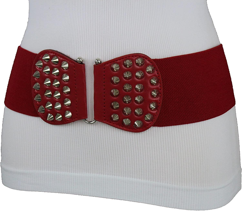TFJ Women Fashion Elastic Belt High Waist Hip Silver Metal Spikes Buckle S M Red