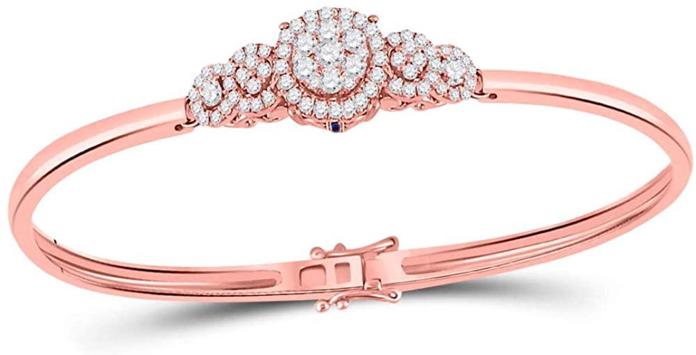 14kt Rose Gold Womens Round Diamond Cluster Bangle Bracelet 3/4 Cttw