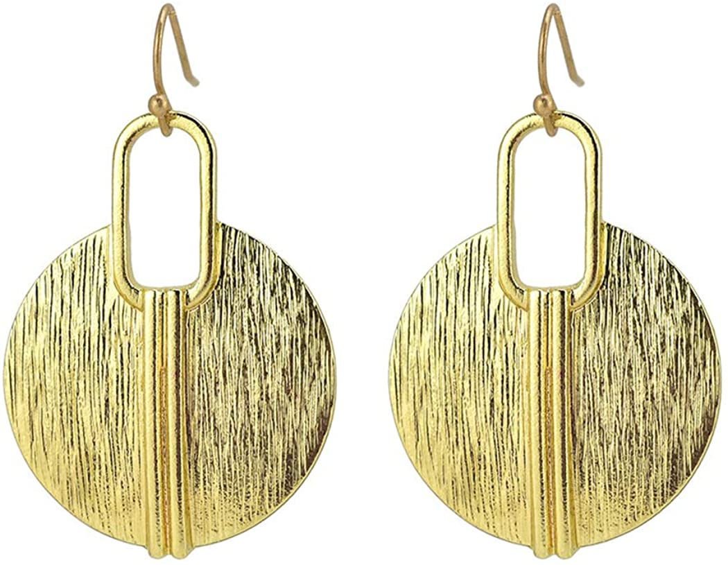 Allison Rose Atelier - Boho Round Drop Earrings/Ethnic Gold Plated Brushed Finish - Wire Wrapping Design Accent - Lightweight Dangle-Drop - Fashion Statement Earrings for Woman