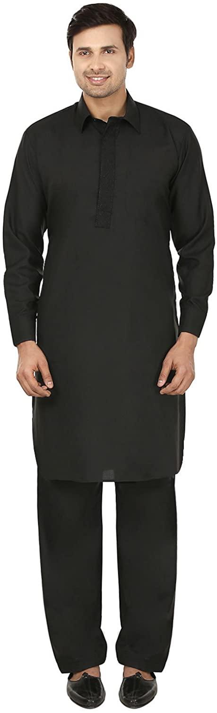 Maple Clothing Mens Pathani Kurta Salwar Set Indian Party Wear (Black, XXXL)