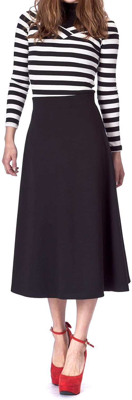 Dani's Choice Elastic Waist A-line Flared Long Skirt