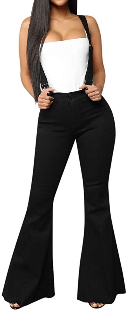 MoonHome Women's High Waist Casual Baggy Denim Bib Overall Strap Pants Trousers Bell-Bottom Pants