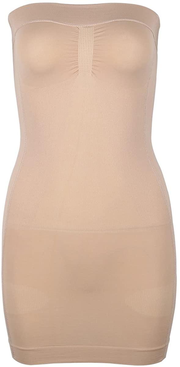 TiaoBug Women's Strapless Firm Control Slip Shapers Full Body Shapewear Dress