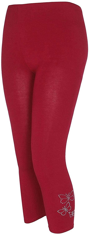 Forever Womens Butterfly Embellished 3/4 Sequin Soft Legging Novelty Pants
