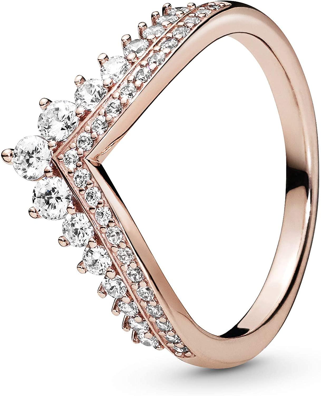 Pandora Jewelry Princess Wishbone Cubic Zirconia Ring in Pandora Rose, Size 3.75