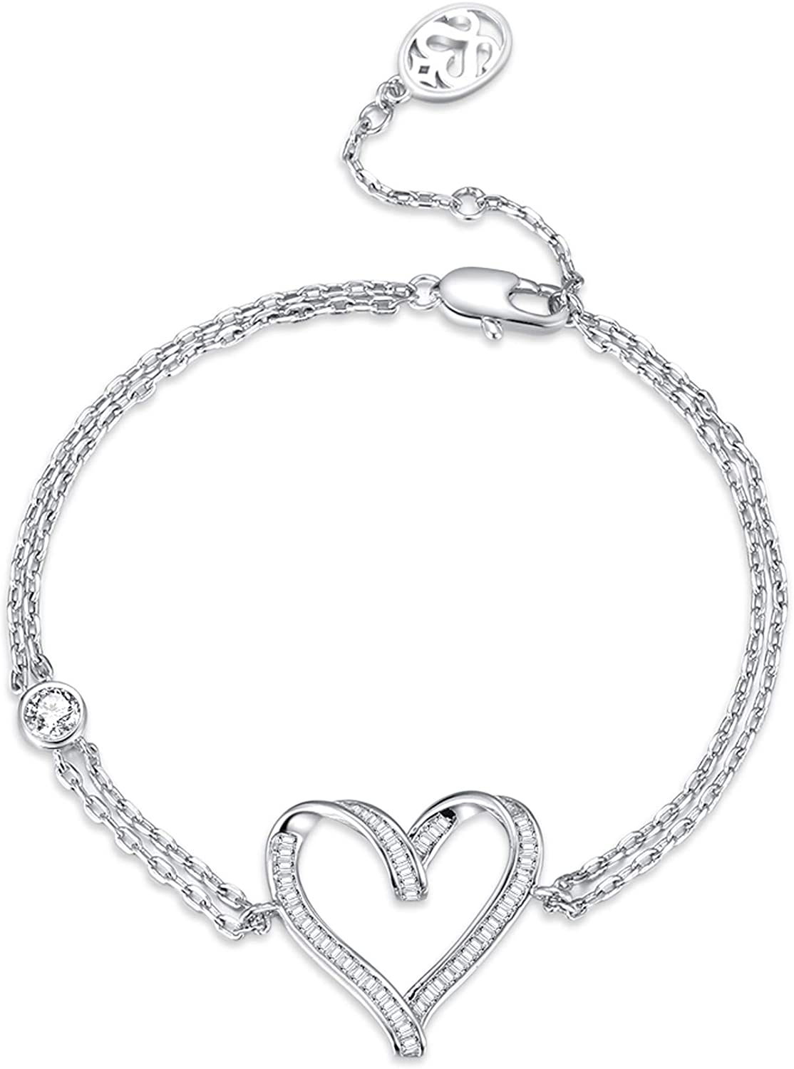 SISMIURRA S925 Sterling Silver Love Heart Link Bracelet for Women Girls Birthday Gift Present with Cubic Zirconia Fine Jewelry