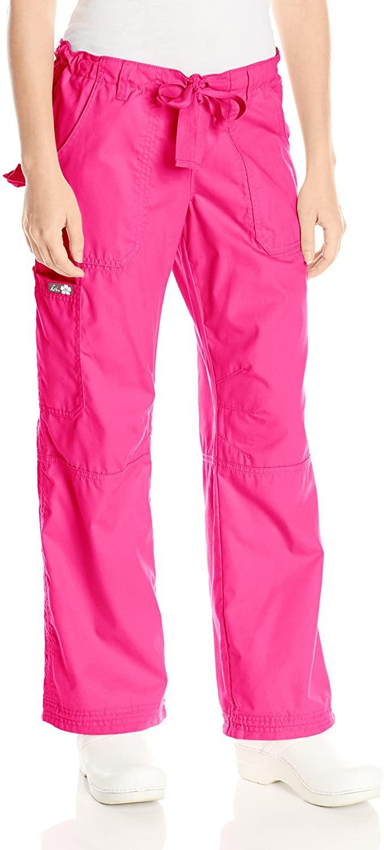 KOI Women's Lindsey Ultra Comfortable Cargo Style Scrub Pants Sizes, Flamingo, X-Small Petite