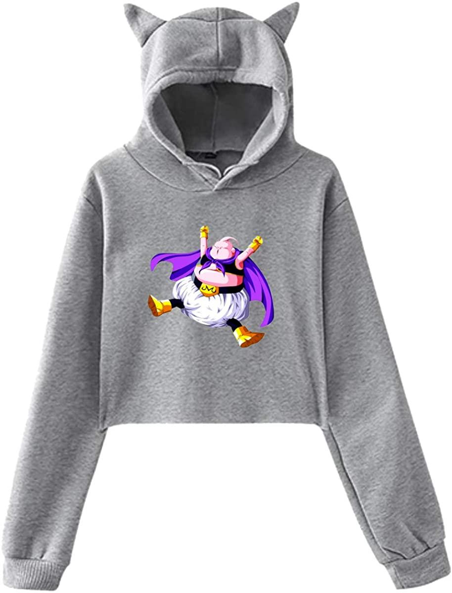 Dragon Ball Z Evil Majin Buu Hoodie Cat Ear Exposed Navel Fashion Kawaii Womens