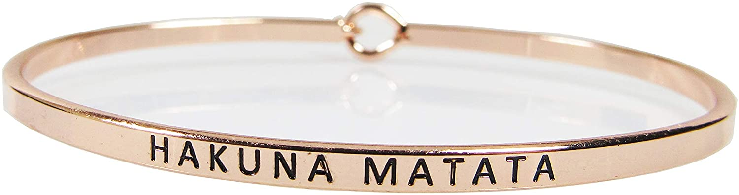 Story Collection Women's -Hakuna Matata- 3mm Message Silver Plated Brass Bangle Bracelets