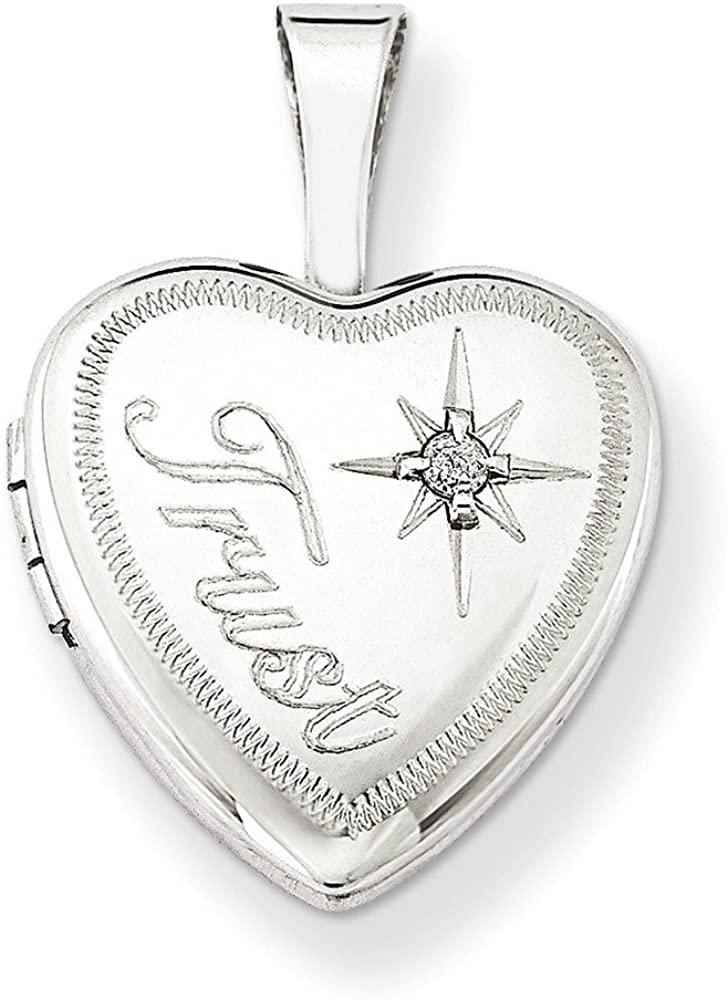 Jewelry Pendants & Charms Lockets Sterling Silver and Diamond Trust 12mm Heart Locket
