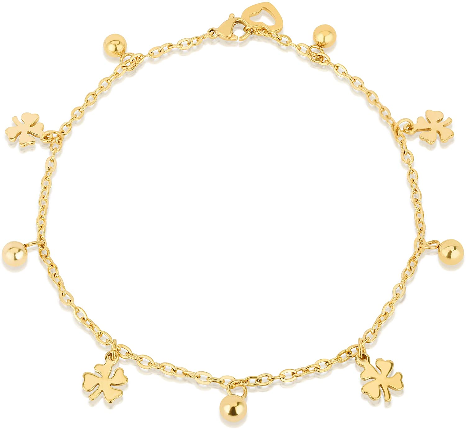 Verona Jewelers 14K Gold Plated Stainless Steel Charm Anklets for Women Girls, Dainty Foot Jewelry, Fashion Accessories and Gadgets, Summer Beach 10 Inch Ankle Bracelets, Cute Chain Link Anklet