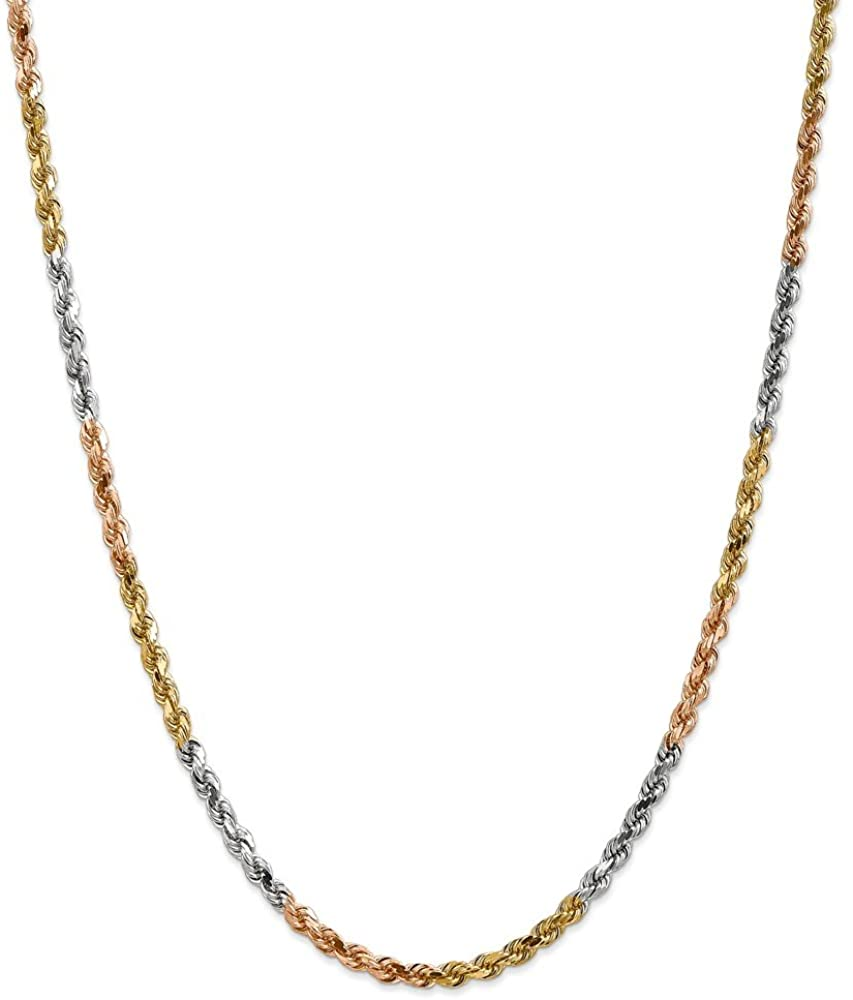 Jewelry Necklaces Chains 14k Tri-Color 4mm D/C Rope Chain