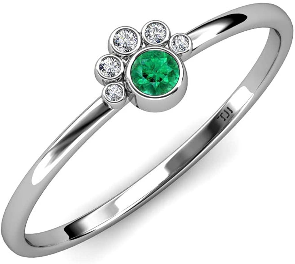 TriJewels Round Emerald Diamond 1/8 ctw Paw Print Promise Ring 14K Gold