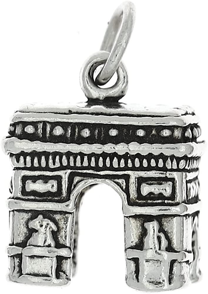 Sterling Silver Oxidized L'arc De Triomphe Paris Charm