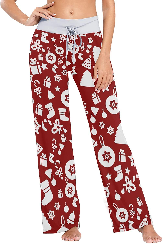 Art Christmas Pattern Seamlessly Stock Women Loose Palazzo Casual Drawstring Sleepwear Print Yoga Pants
