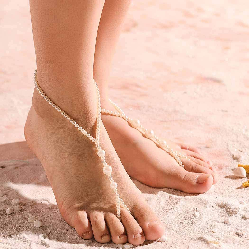 Aularso 2PCS Wedding Sandals Anklet Pearl Barefoot Sandals Simple Ankle Bracelets Foot Chain Beach Feet Jewelry for Women and Girls