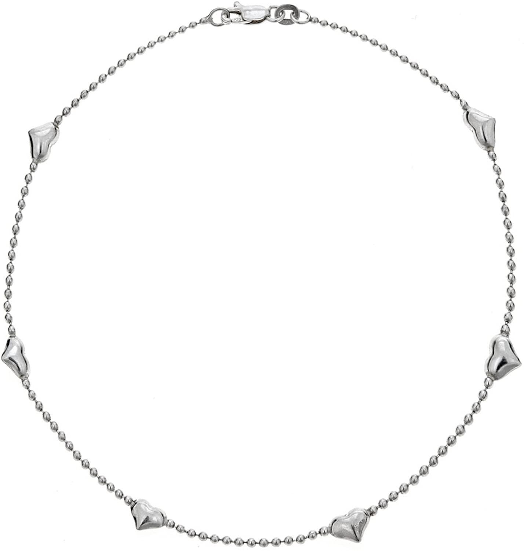 Ritastephens Sterling Silver Station Heart Beaded Link Chain Ankle Bracelet Anklet, 10