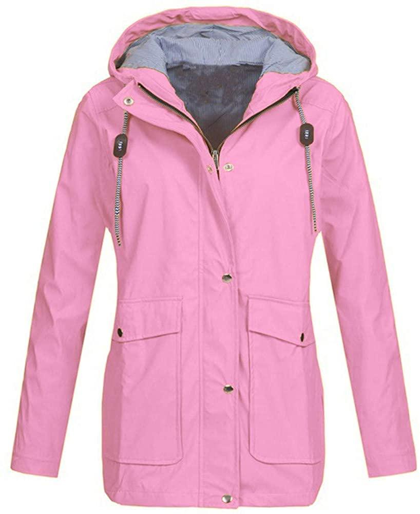 Womens Solid Rain Jacket Outdoor Plus Jackets Waterproof Hooded Raincoat Pink