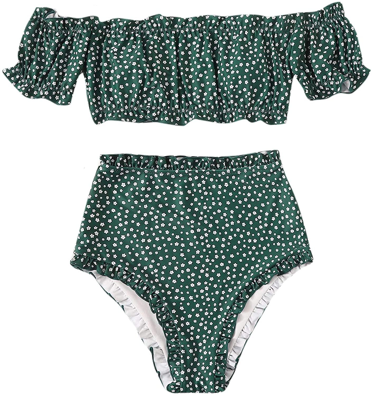 SheIn Women's Floral 2 Piceces Short Sleeve Off Shoulder Top Bikini Swimwear Set