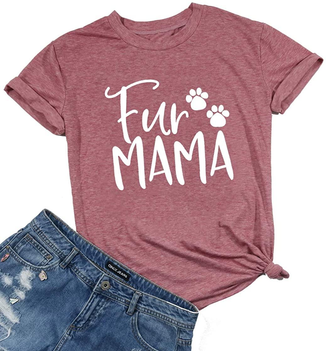Dog Mom Shirt Women Funny Fur Mama Shirts Dog Paw Graphic Tshirt Cute Short Sleeve Cotton Top Tees Dog Lover Gifts
