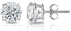 Diamond Wish 14k White Gold Round Diamond Stud Earrings (1/4cttw, H-I, I2-I3) 4-Prong Basket, Push-Back