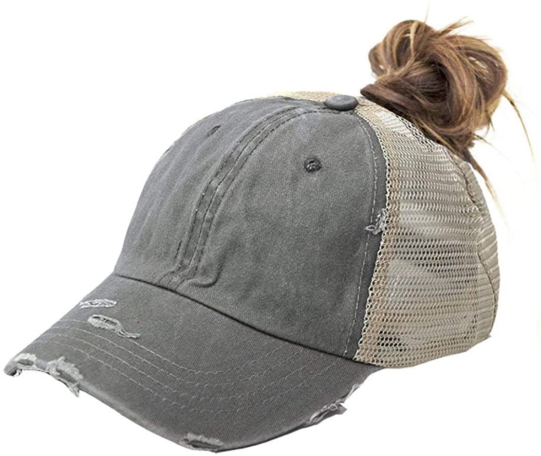 UTOWO Distressed Ponytail Hats Baseball for Women Messy-Bun Pony Caps