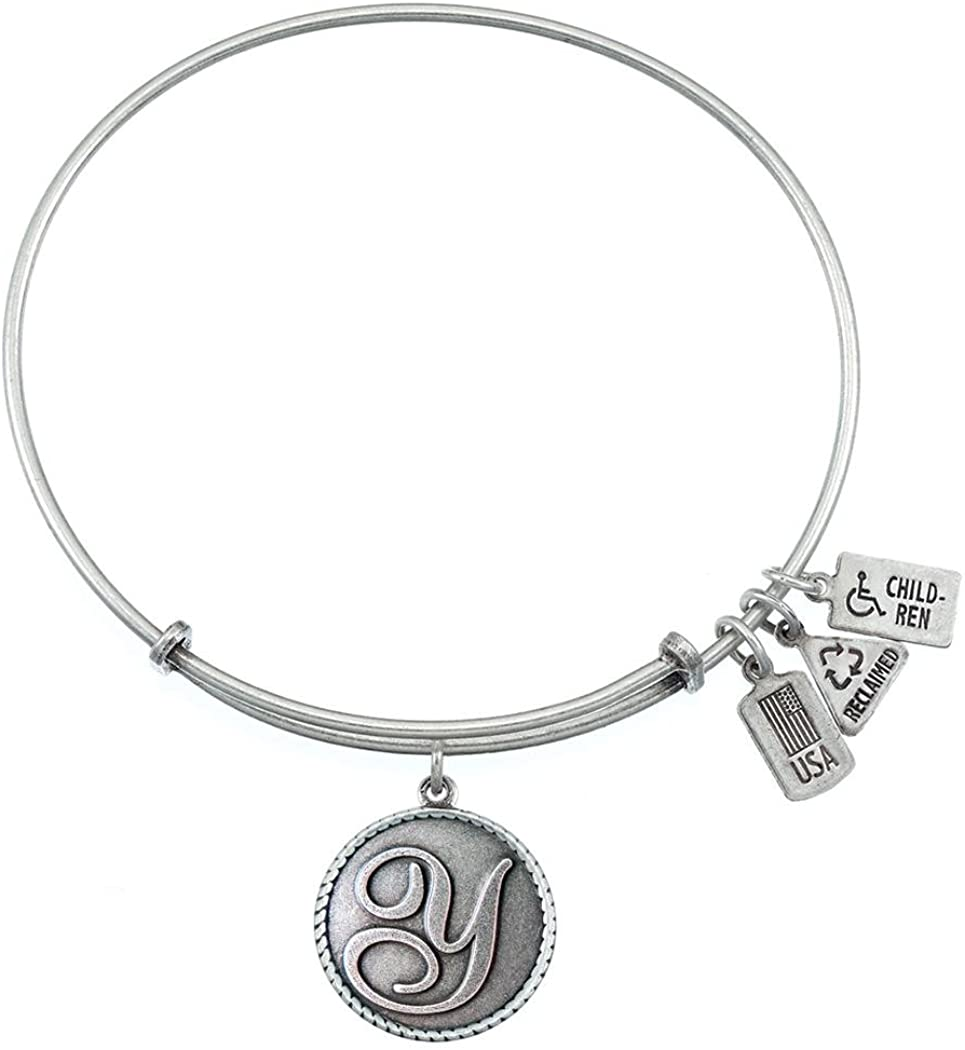 Wind and Fire Love Letter 'Y' Silver Finish Charm Bangle