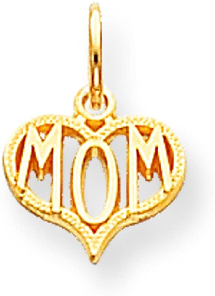 10K Yellow Gold Mom in Heart Charm Love Jewelry