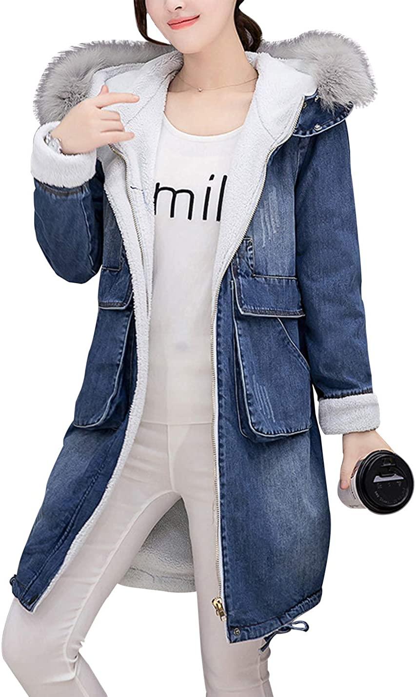 D.B.M Ladies Warm Lamb Wool Zipper Large Pocket Fur Collar Hooded Denim Jacket