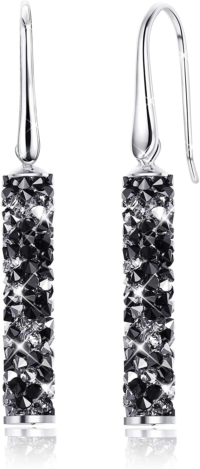 Kesaplan Cylinder Bar Dangle Crystal Earrings for Women Sterling Silver Crystal Drop Earrings Hypoallergenic, Crystals from Swarovski, Gift for Christmas