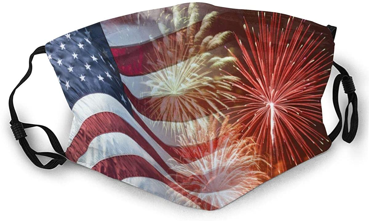 Unisex Reusable America Flag Firework Picture Face Mask Outdoor Dust Cloth Mouth Mask