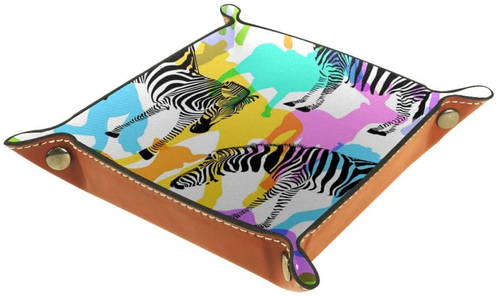 Inhomer Wild Animal Zebra Camel Leather Valet Tray Jewelry Tray Bedside Tray Desktop Storage Organizer for Coin Key