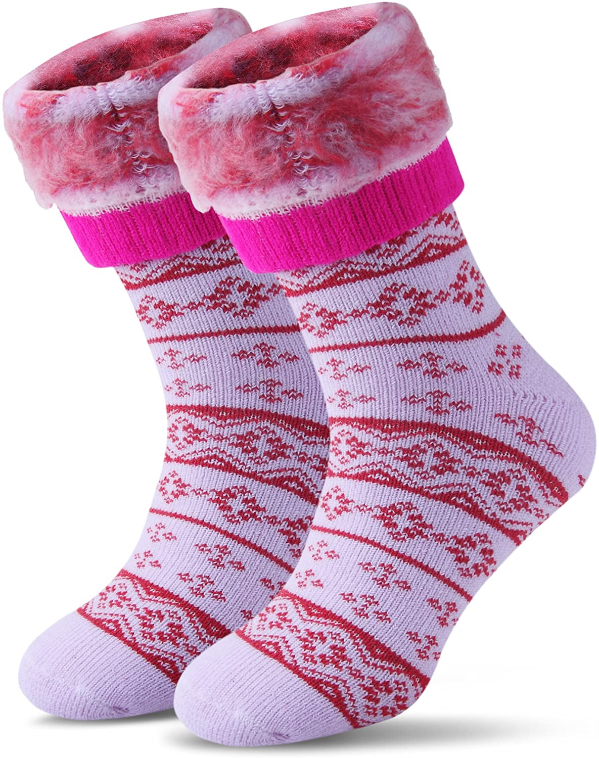 Womens Men Winter Warm Wool Pile Lined Insulated Thermals Socks Thick Boots Heat Socks Cold Weather