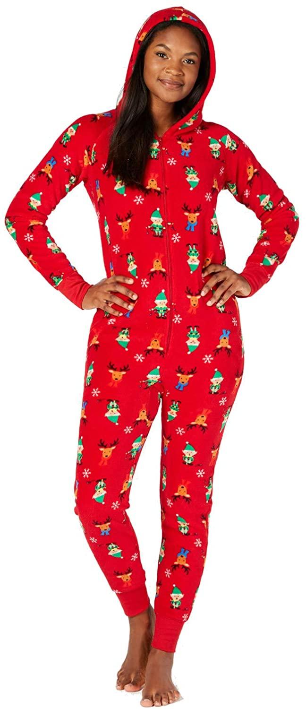 Family Pajamas Women's Elf Hooded Body Suit (Medium, Red)