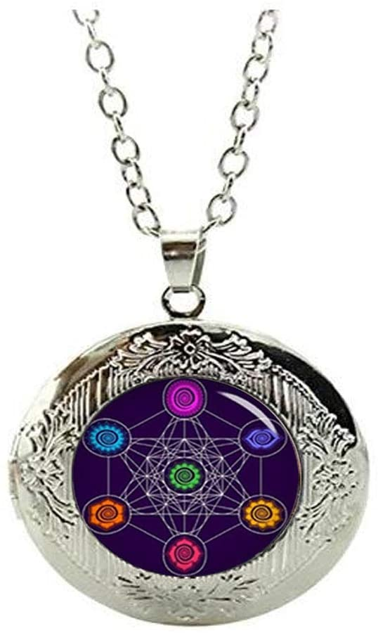 Steampunk Metatrons Cube Locket Necklace Glass Photo Charm Jewelry Birthday Festival Gift Beautiful Gift