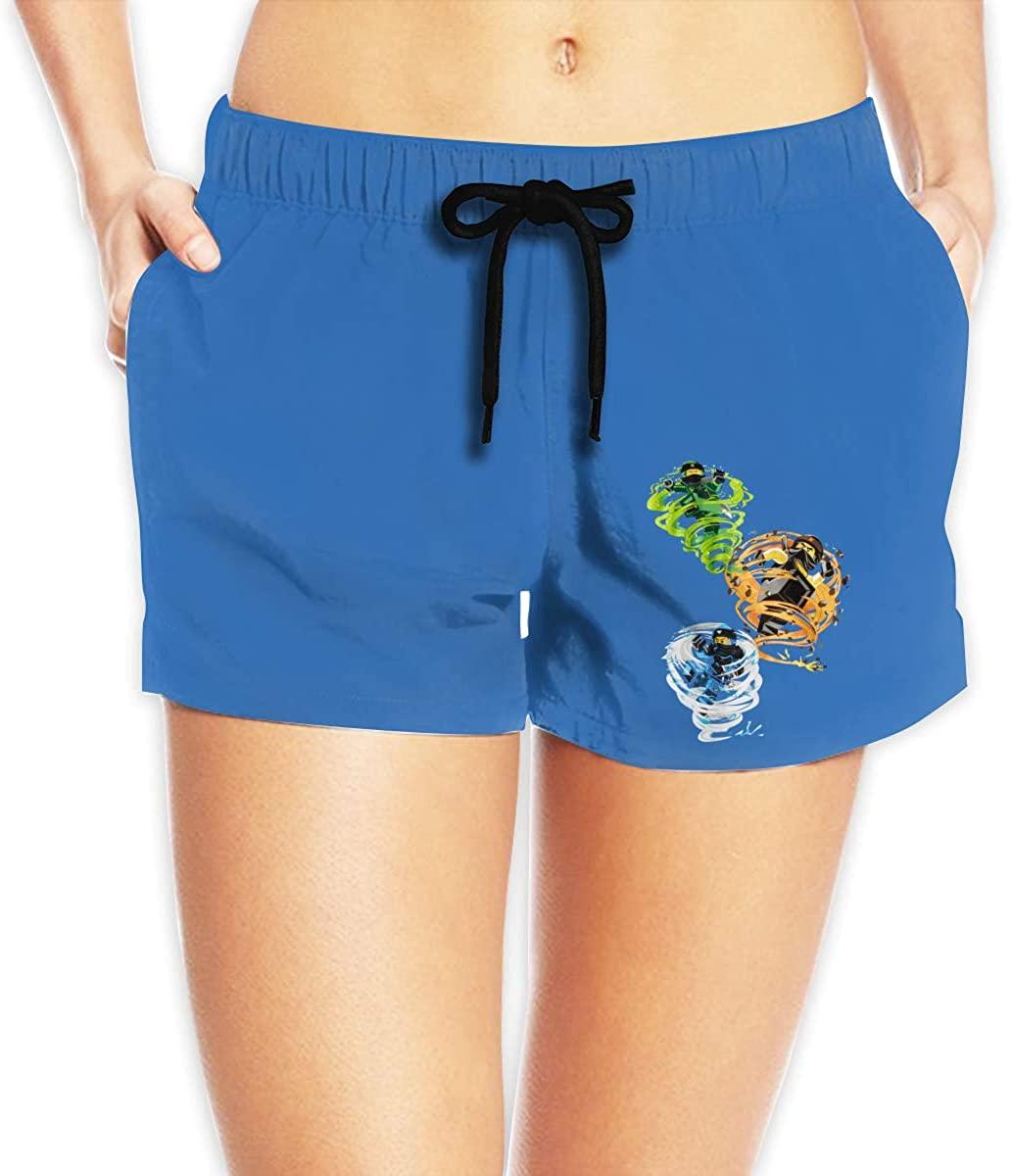 Hangquq Ladiesninjago Printed Bouquet with Waist Beach Shorts.
