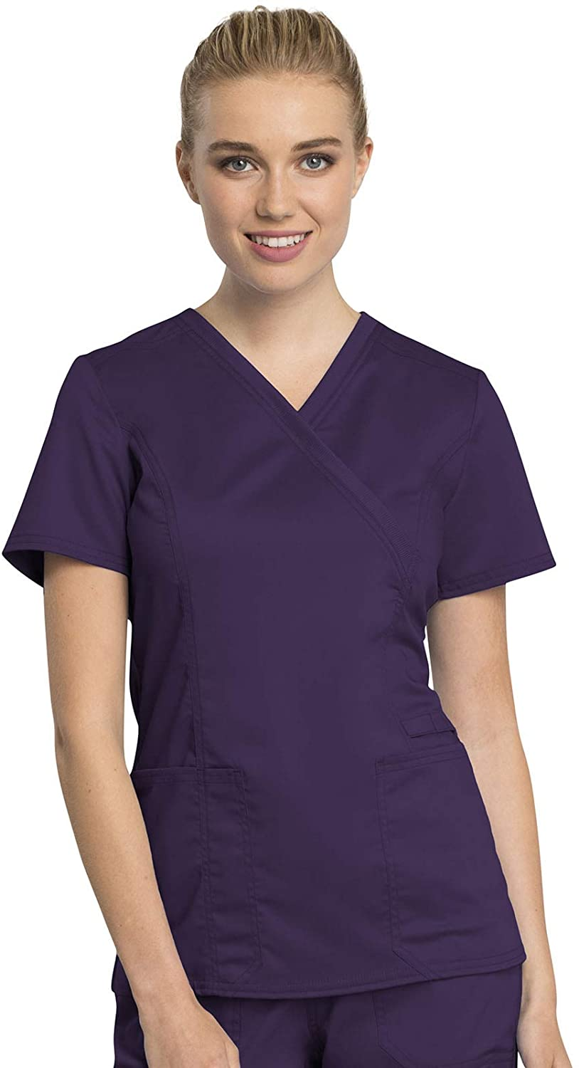 CHEROKEE Workwear WW Revolution Tech Mock Wrap Top, WW775AB, 5XL, Eggplant