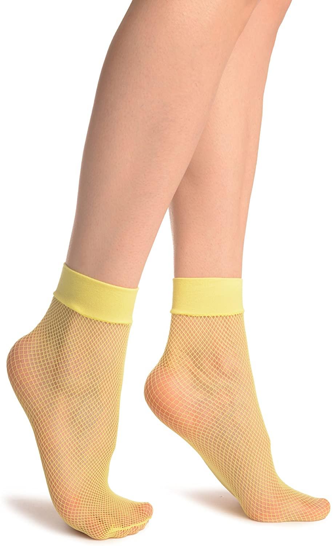 Neon Yellow Fishnet Ankle High Socks - Socks