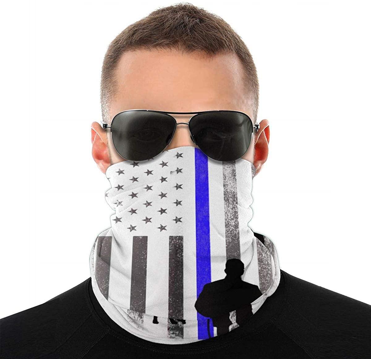 Police Blue Line Flag Face Mask Half Sun Dust Protection, 3D Tube Mask Seamless Durable Face Mask Bandana