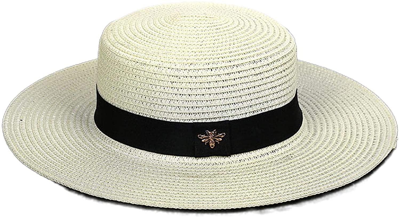 Hopereo Sun Hats Straw Hat Retro Gold Braided Loose Sunscreen Sunshade Flat Cap-White-