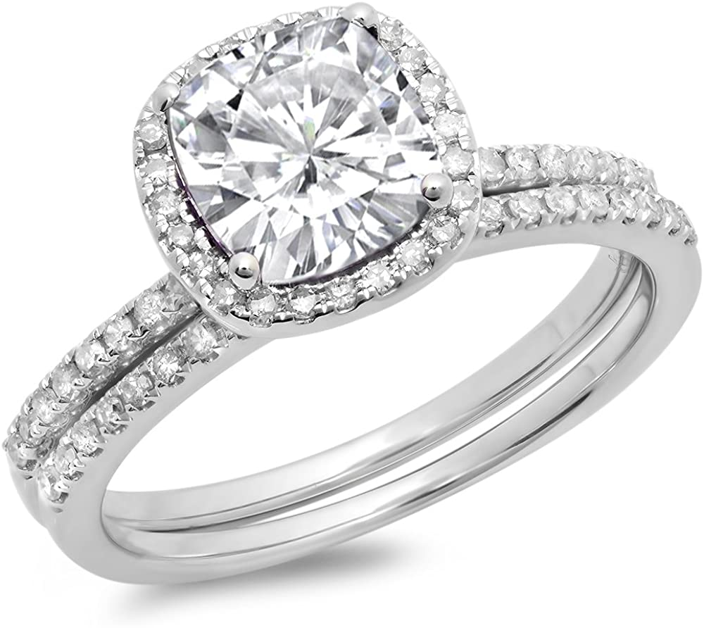Dazzlingrock Collection 10K Gold Cushion Created White Sapphire & Round White Diamond Bridal Halo Engagement Ring Set